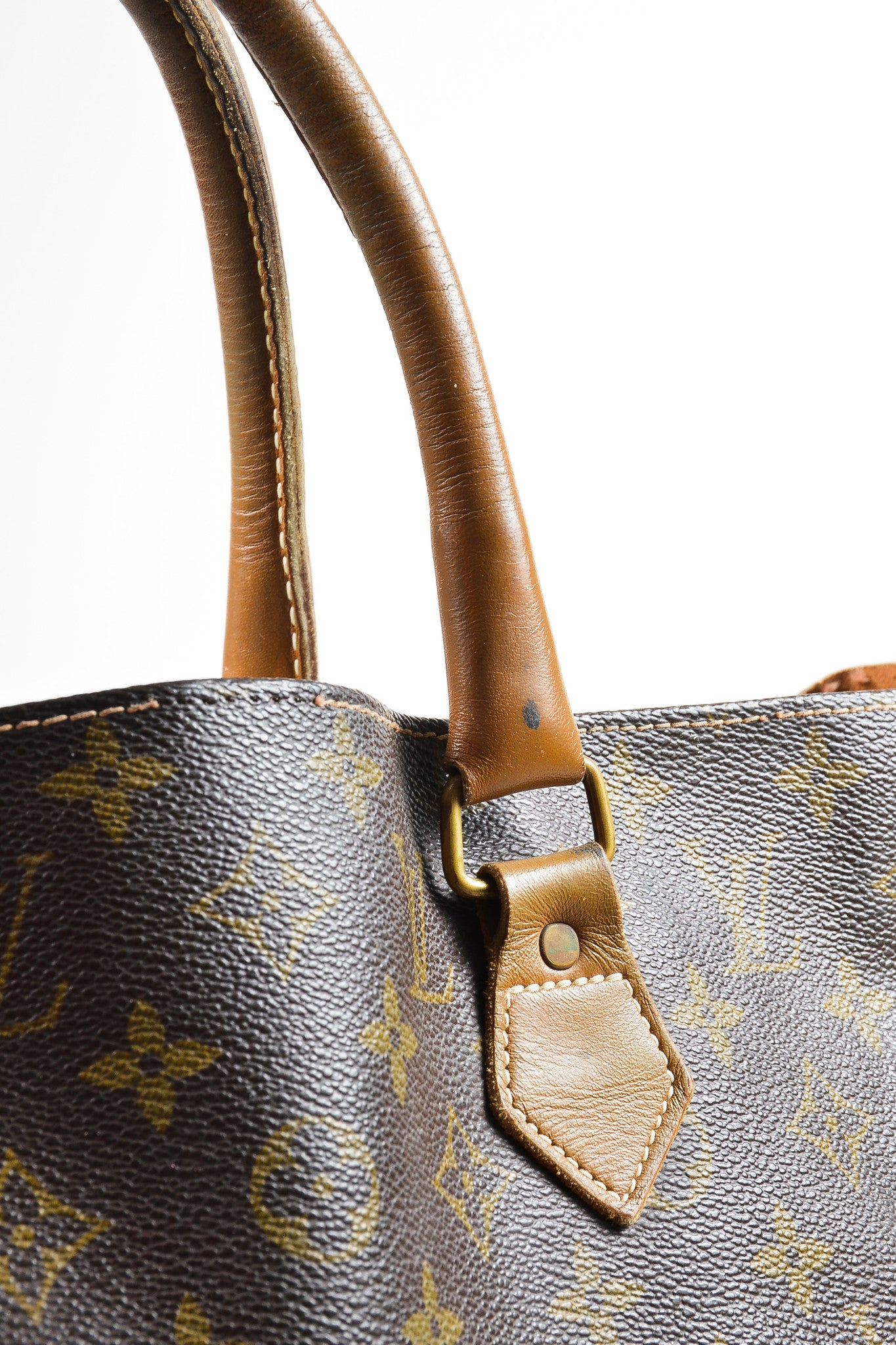 "Brown Louis Vuitton Canvas and Leather Monogram North South ""Sac Plat"" Tote Bag Detail 2"