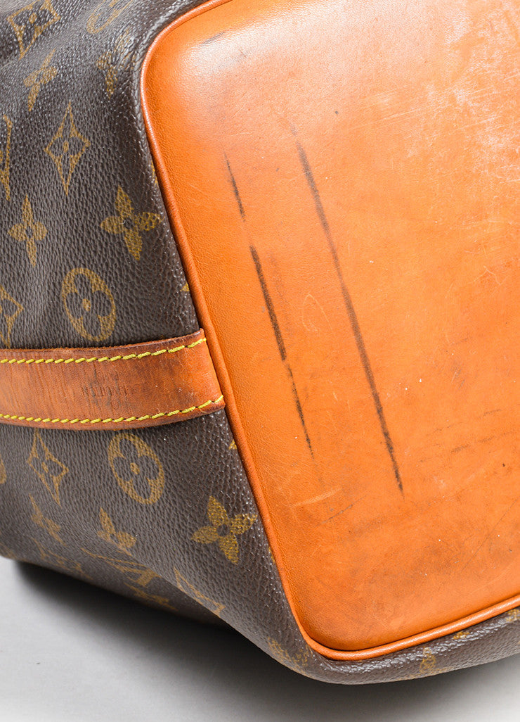 "Brown and Tan Louis Vuitton Coated Canvas Monogram ""Petit Noe"" Bucket Bag Detail"