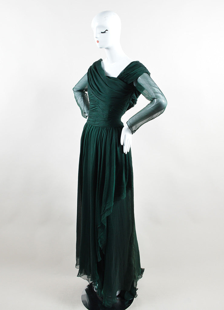 Oscar de la Renta Emerald Green Silk Chiffon Long Sleeve Gown Sideview