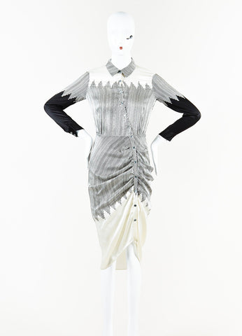"Veronica Beard Cream and Black Silk Striped Long Sleeve Ruched ""Clara"" Dress Frontview"