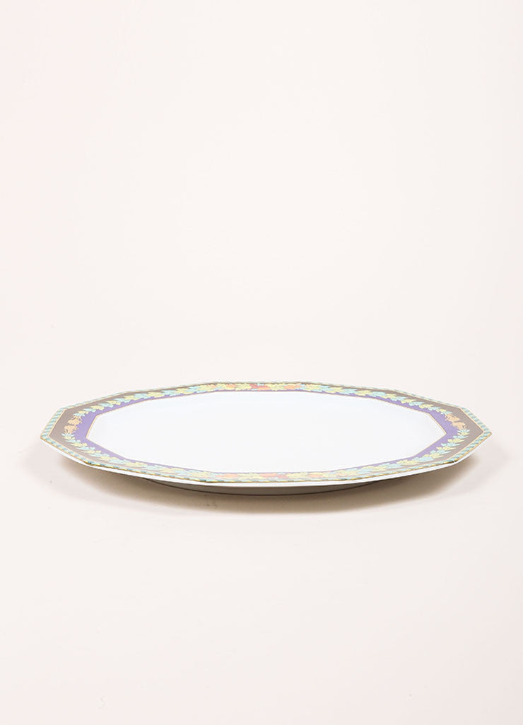 "Versace Rosenthal Multi-Green ""Le Roi Soleil"" 10.5 inch Dodecagon Dinner Plate Sideview"