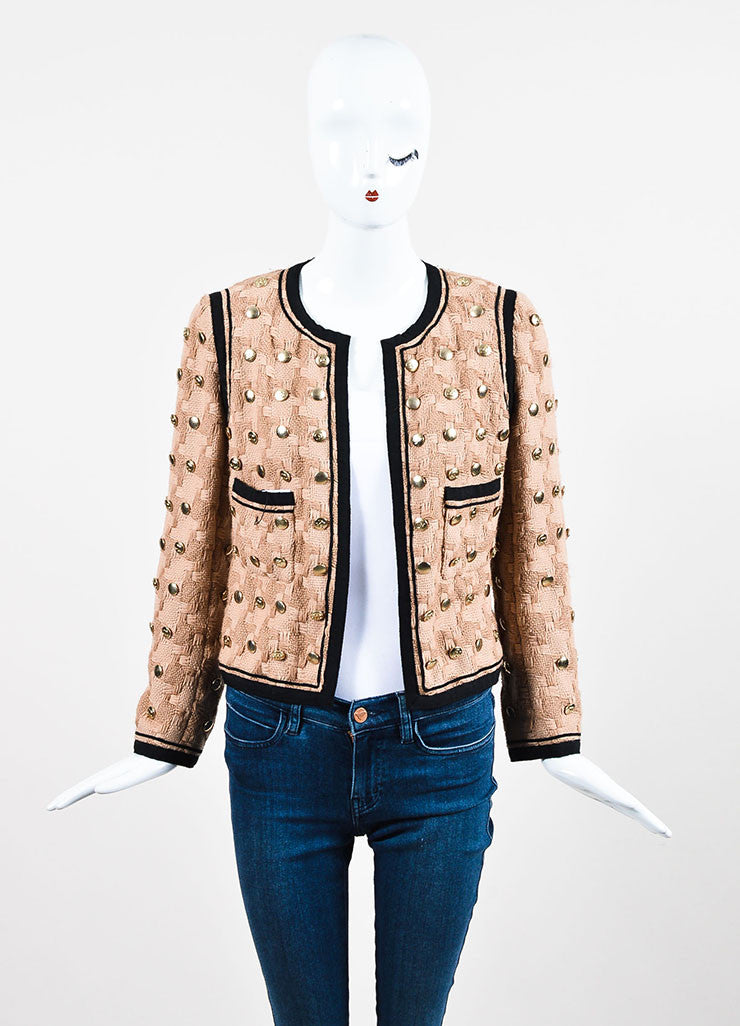 Tan and Black Chanel Woven Button Embellished Skirt Suit Jacket