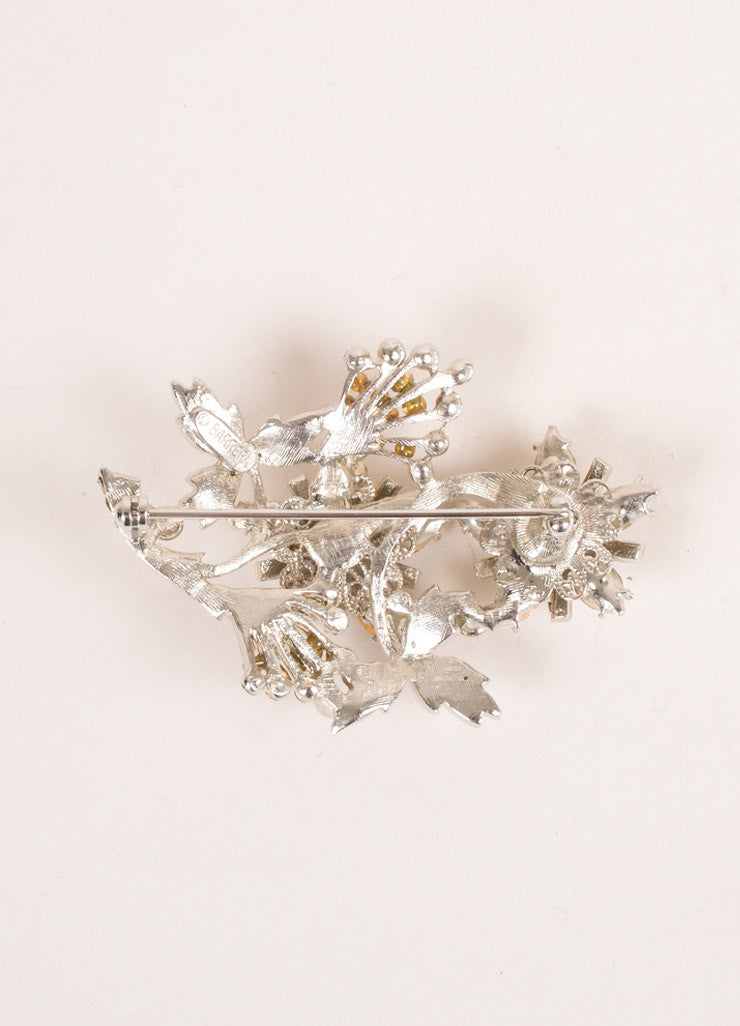Barrera Silver Toned Rhinestone Embellished Floral Brooch Pin Backview
