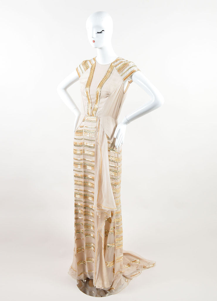 Bibhu Mohapatra Beige Silk and Gold Sequin Beaded Cap Sleeve Gown Sideview