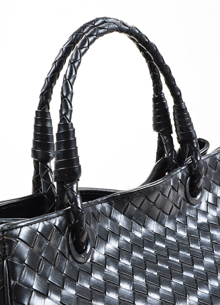 Bottega Veneta Black Leather Intrecciato Woven East West Tote Bag Detail 3