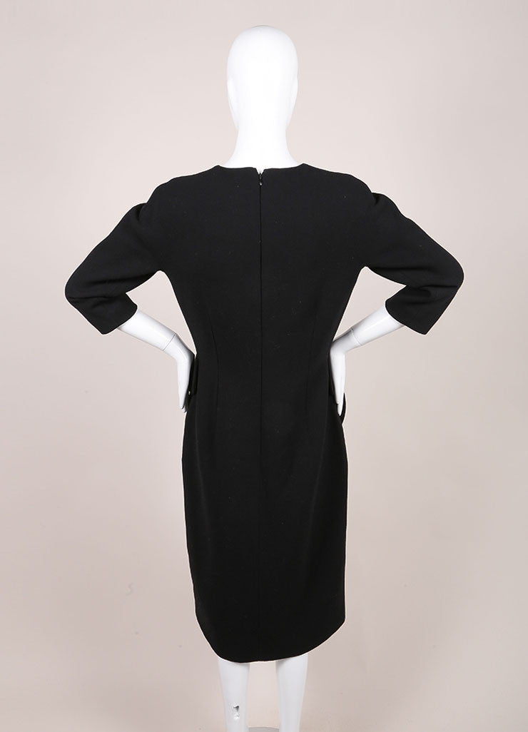 Bottega Veneta New With Tags Black and White Wool Peplum Dress Backview