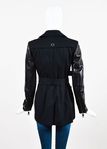 Burberry Black Twill Leather Quilted Zip Up Belted Trench Coat Backview