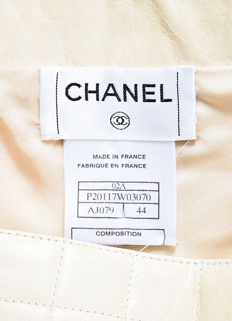 Cream Chanel Leather Quilted A Line Flounce Skirt Brand