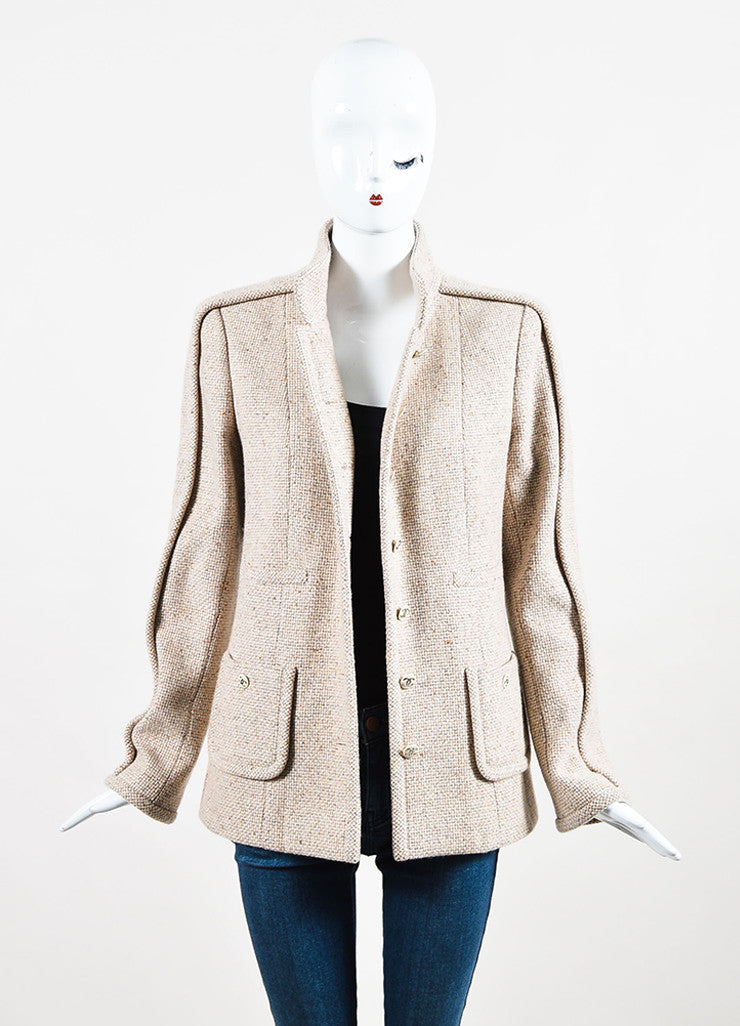 Chanel Beige and Grey Cashmere Tweed 'CC' Enamel Button Piping Jacket Frontview