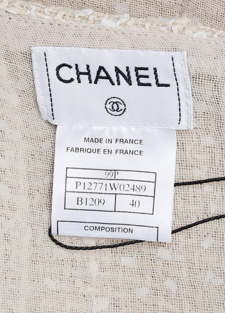 Cream Chanel Woven Tweed Knee Length A-Line Skirt Brand