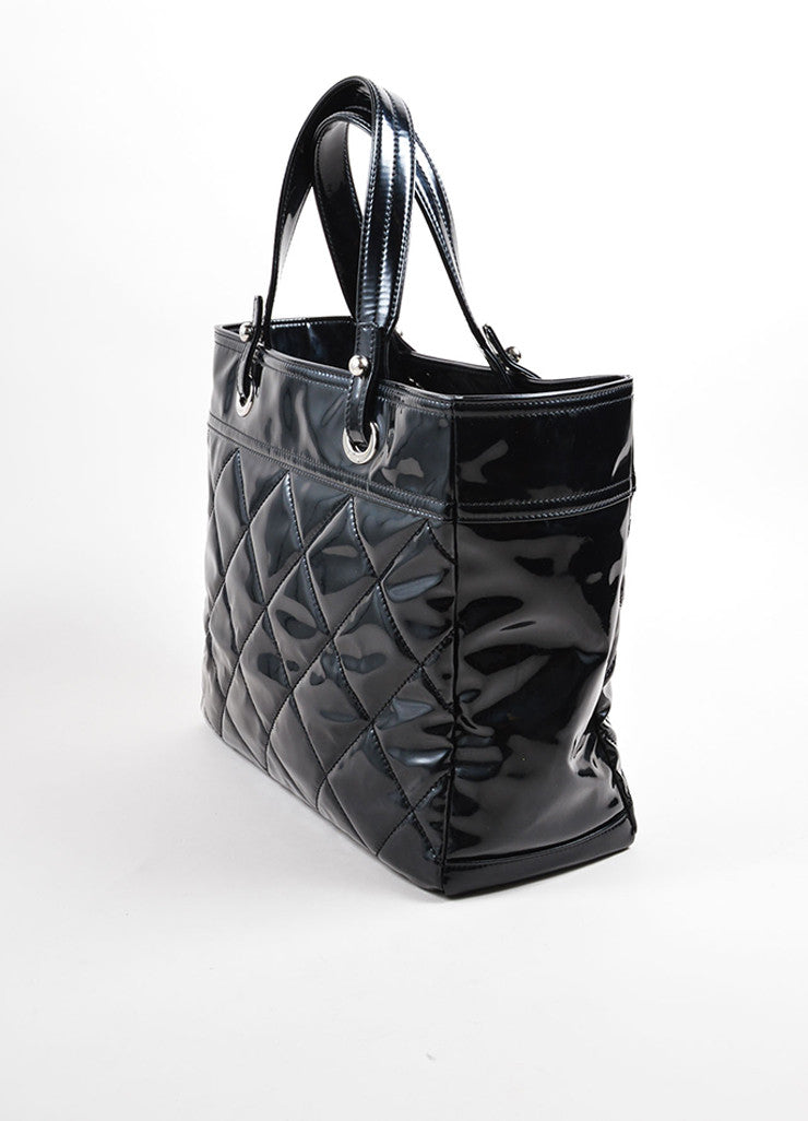 "Chanel Black Patent Diamond Quilted ""Paris Biarritz"" Travel Tote Bag Sideview"