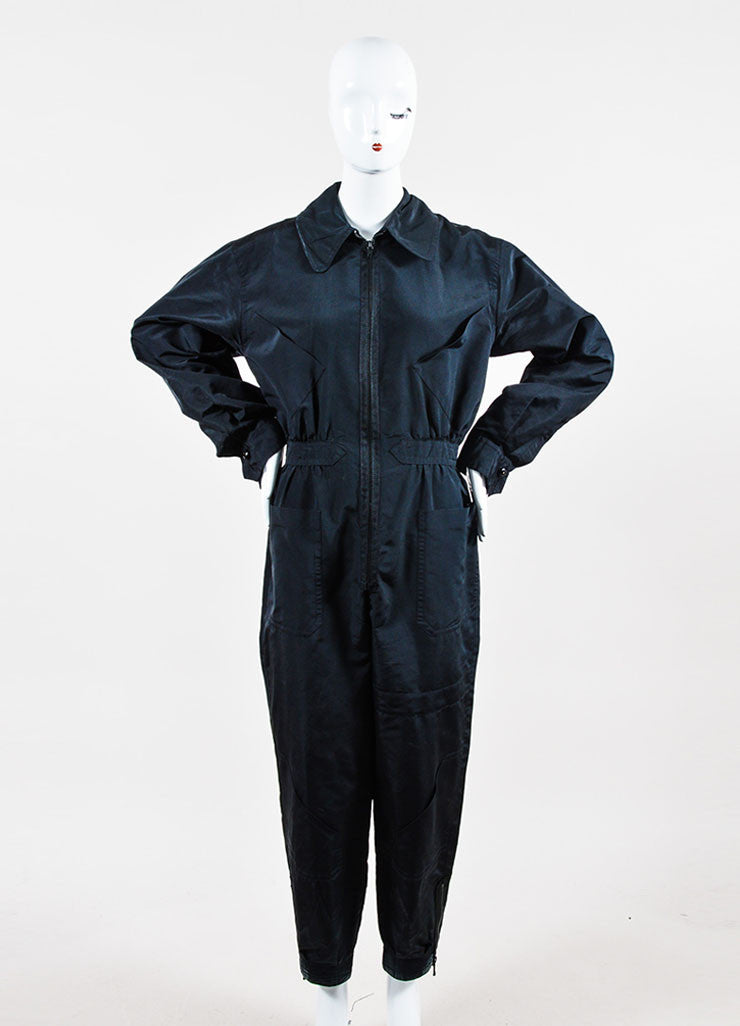 Black Chanel Silk Coverall Long Sleeve Jumpsuit Frontview