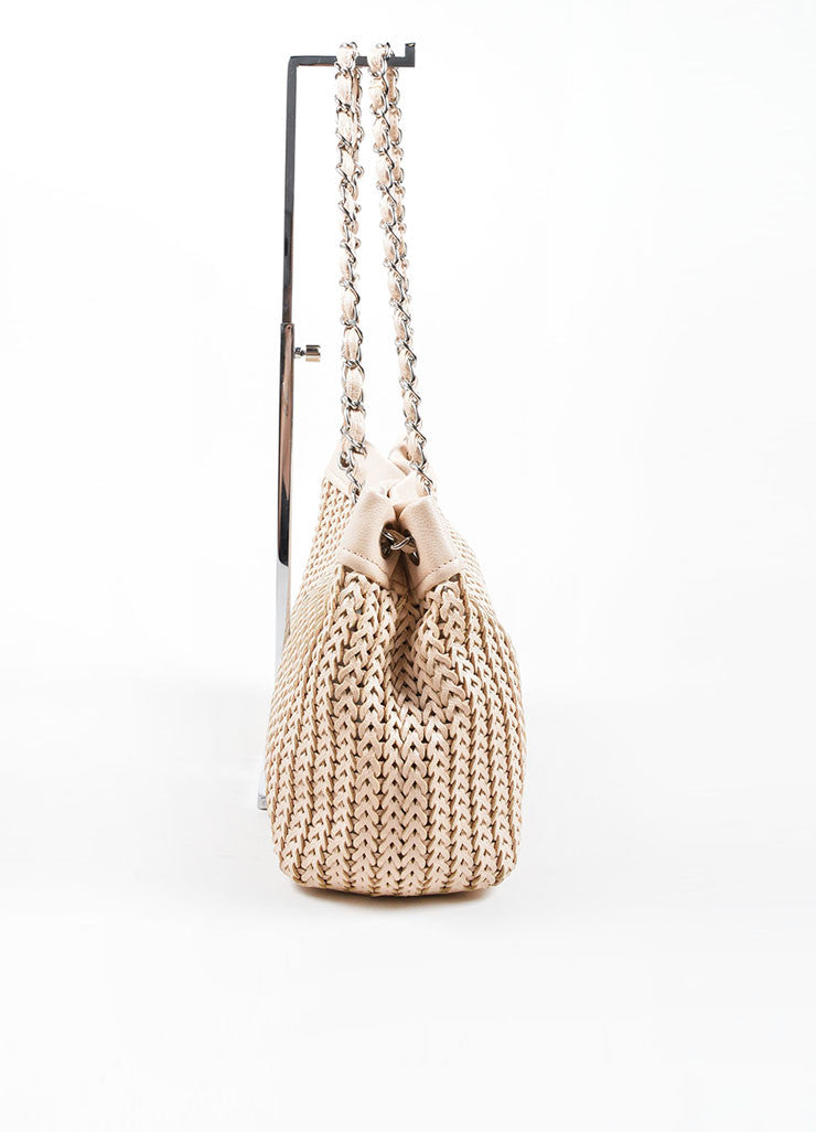 Chanel Blush Beige Braided Leather Chain Strap Slouchy Bag Sideview