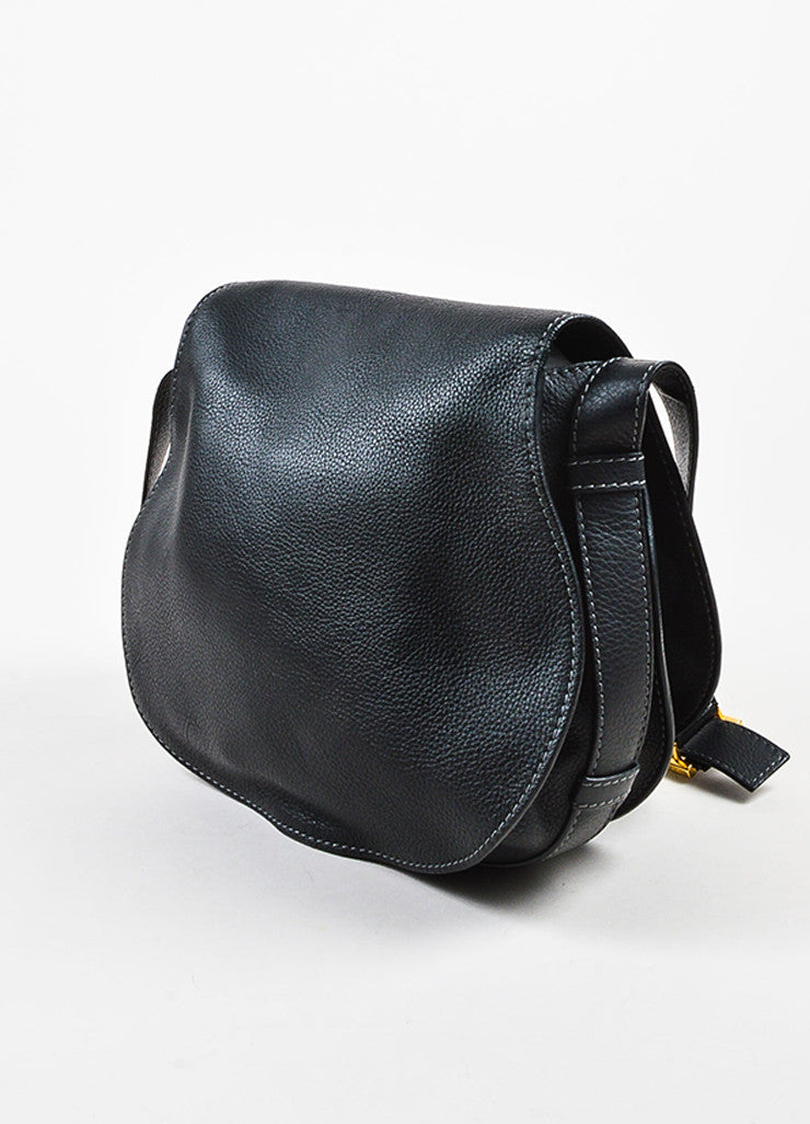 "Chloe Black Grained Leather Saddle Crossbody ""Marcie"" Bag Sideview"