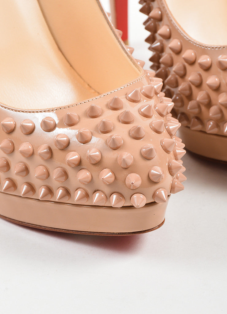"Nude Leather Christian Louboutin ""Alti Pump Spikes 160"" Pumps Detail"