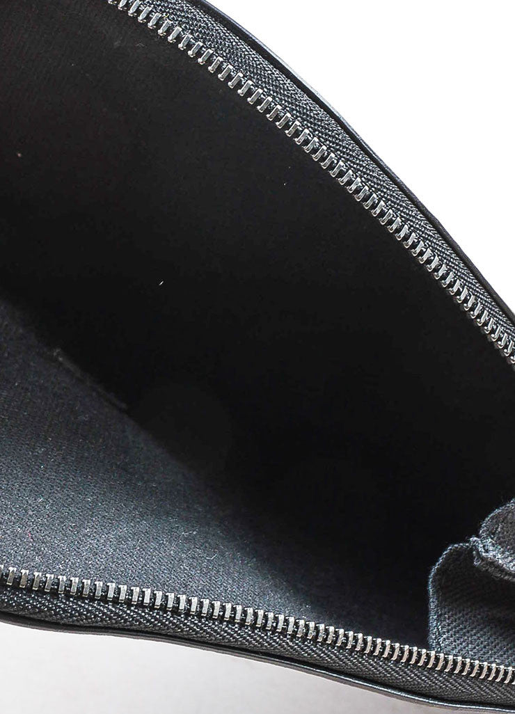 Christopher Kane Black Leather Zip Around Heart Shaped Clutch Bag Interior