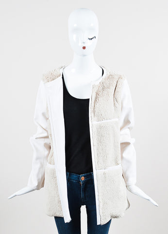 Courreges Cream and Beige Fur Paneled Magnetic Closure Jacket  Frontview