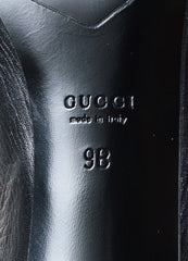 Gucci Black Pebbled Leather Mink Fur Shaft Almond Toe Heeled Boots Brand