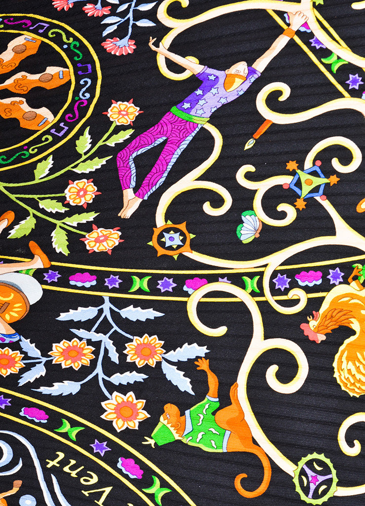 "Hermes Black Multicolor Silk Printed ""Peuple Du Vent"" Plisse Scarf Detail 2"