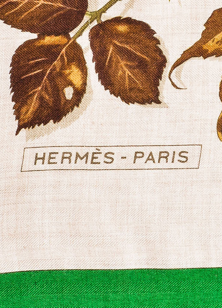 "Brown, Green, and Beige Hermes Cashmere and Silk ""Tourbillon"" Square Shawl Scarf Brand"