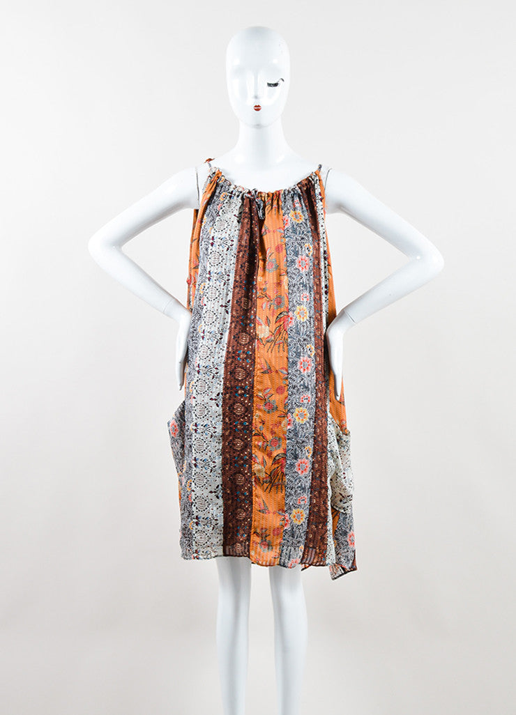 "Isabel Marant Brown Silk Mixed Print Sleeveless ""Alibay"" Dress Frontview"