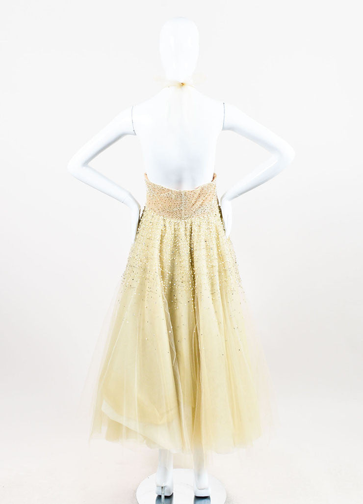 Pale Yellow Oscar de la Renta Tulle Pearl Beaded Halter Evening Gown Backview