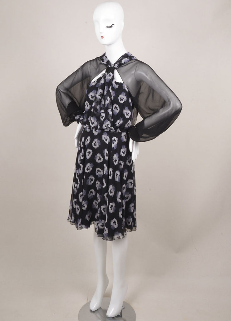Prabal Gurung New With Tags Black and White Silk Floral Print Sheer Sleeve Dress Sideview