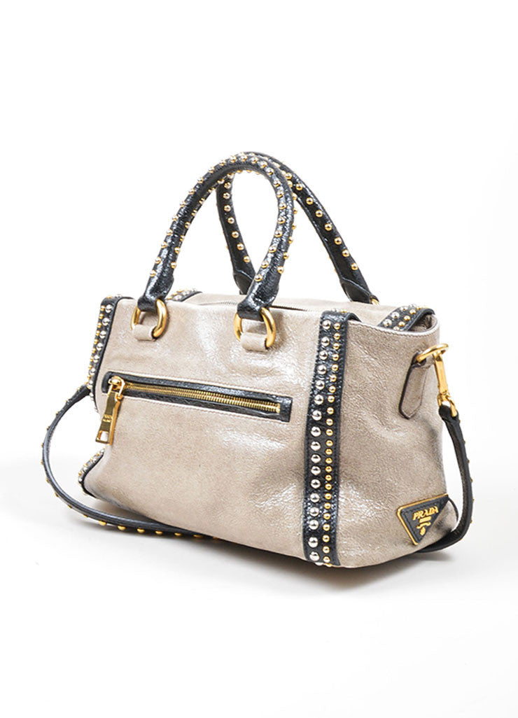 Grey and Black Gold and Silver Toned Prada Cracked Leather Craquele Studded Tote Bag Sideview