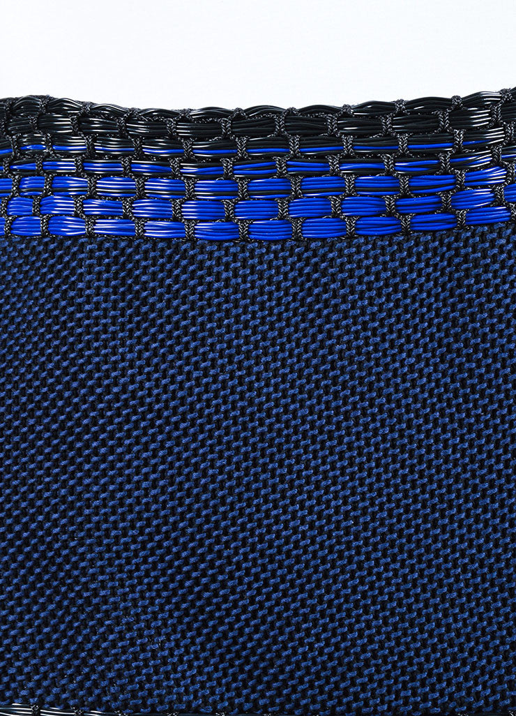 Blue and Black Roksanda Wool, Cotton, and Plastic Woven Pencil Skirt Detail