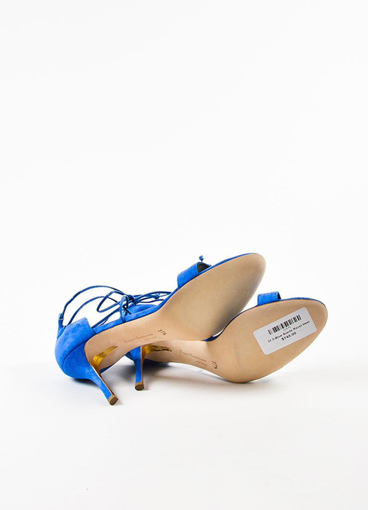 "Blue Rupert Sanderson Suede ""Ravel"" Tie Ankle Heel Sandals Sole"