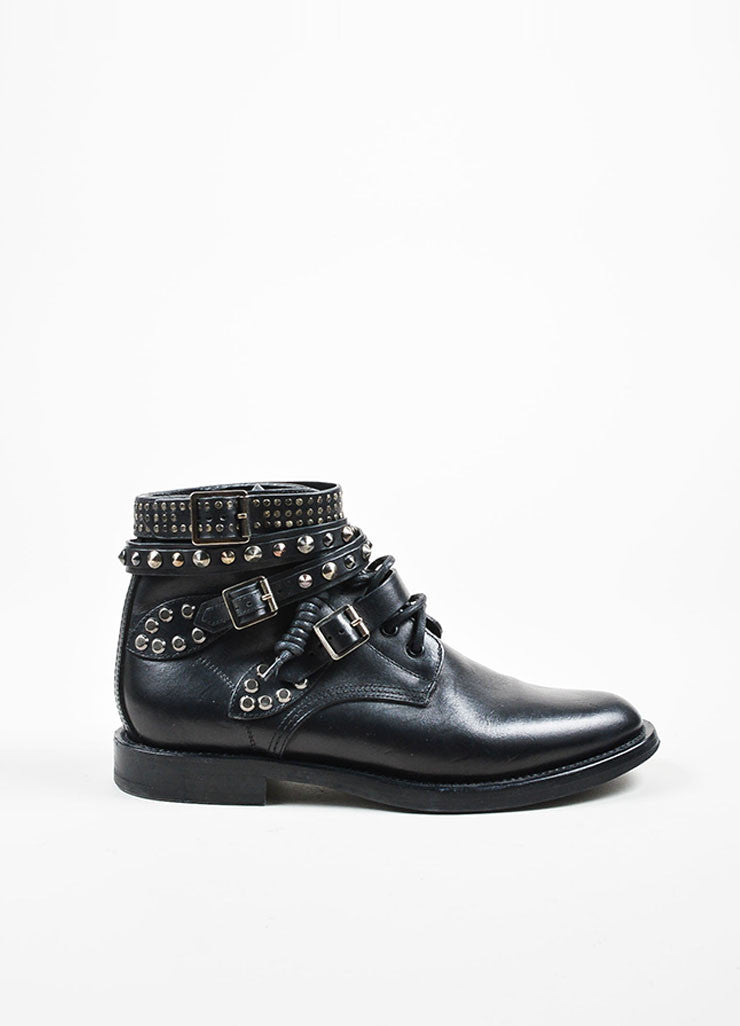 "Black Saint Laurent Leather Studded Strappy ""Rangers"" Ankle Boots Sideview"