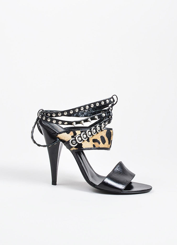 Black Leather Leopard Pony Hair Studded Saint Laurent  Strappy Sandals Sideview