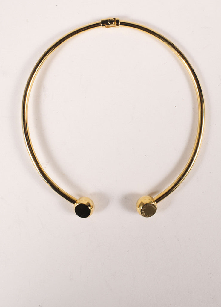 Stella McCartney New Gold Toned Metal Ball Accent Open Choker Collar Necklace Backview