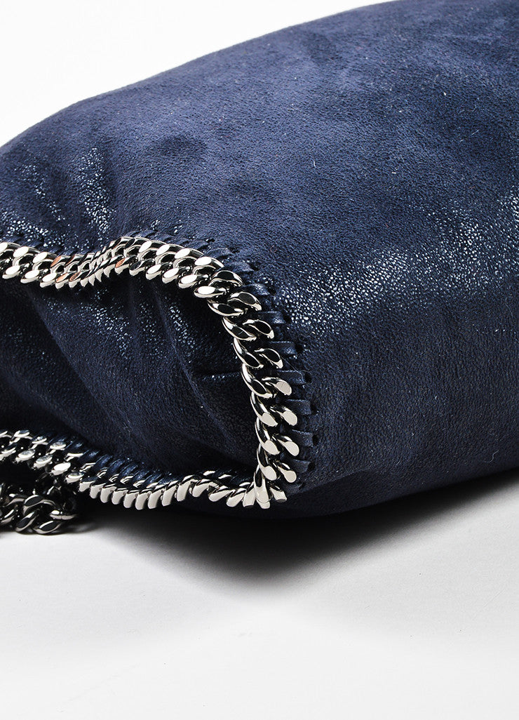 "Navy Stella McCartney Faux Shaggy Deer Suede ""Falabella"" Tote Bag Detail 2"