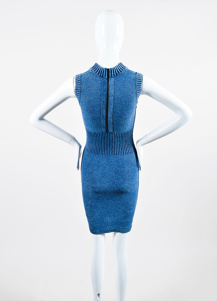 T by Alexander Wang Blue Cotton Blend Knit Faux Denim Sleeveless Bodycon Dress Backview