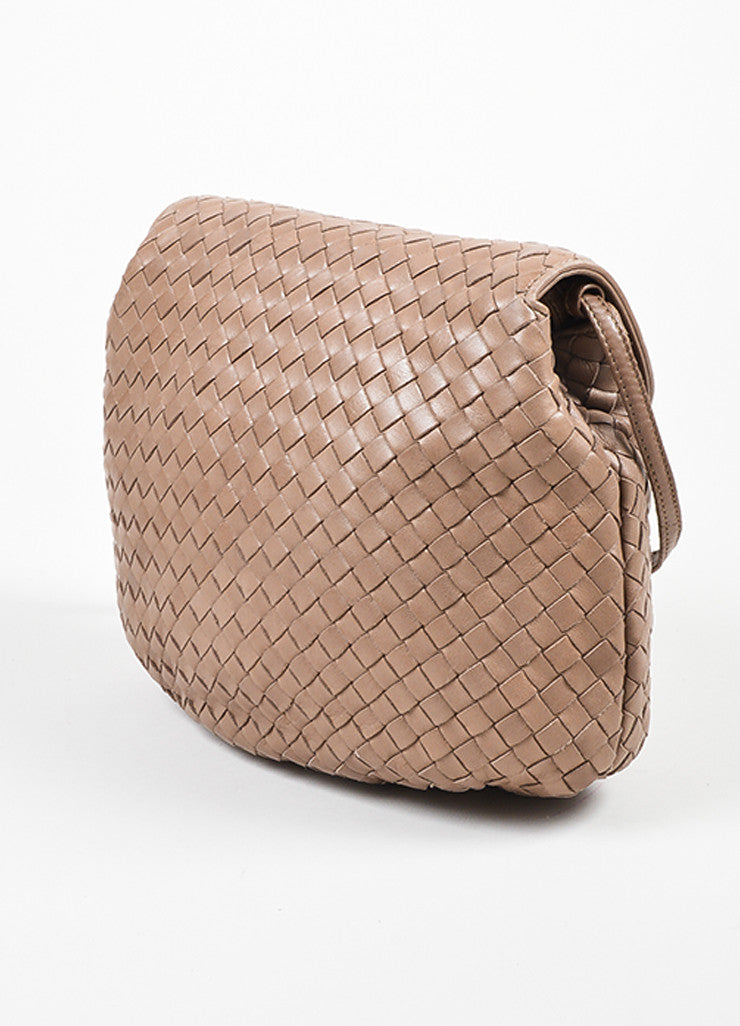 Taupe Bottega Veneta Intrecciato Woven Crossbody Bag Sideview