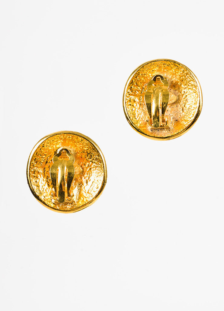 Chanel Gold Toned Logo Round Oversized Medallion Clip On Earrings Backview