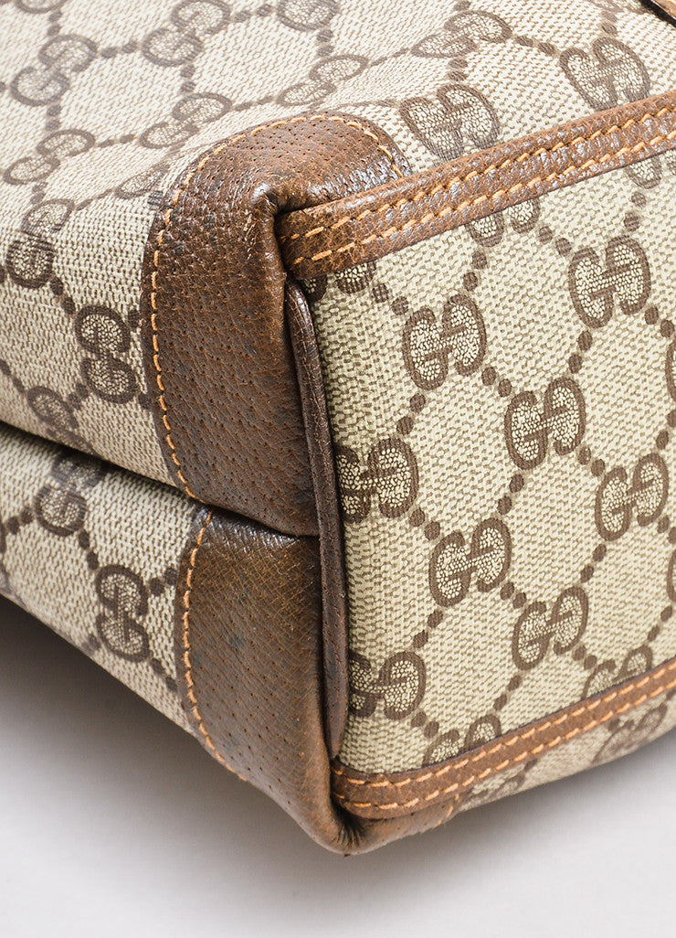 Gucci Beige and Brown Coated Canvas Leather Monogram Travel Tote Bag Detail