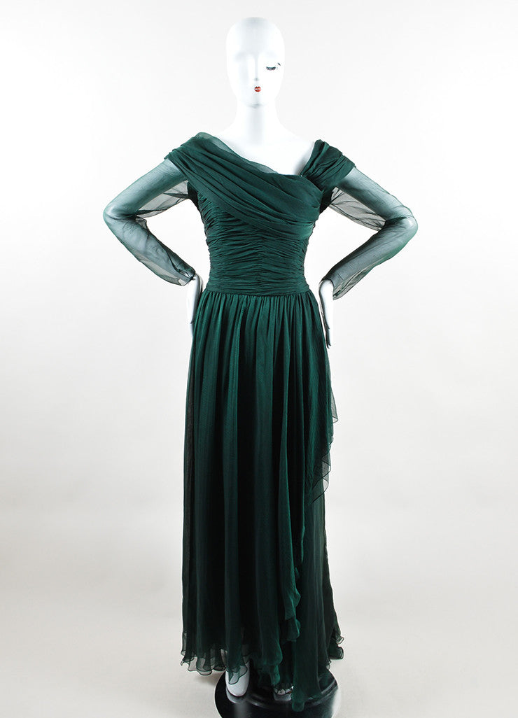 Oscar de la Renta Emerald Green Silk Chiffon Long Sleeve Gown Frontview