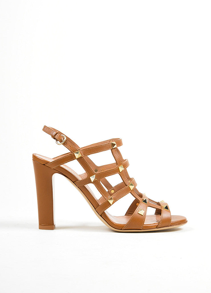 Brown Valentino Leather Rockstud Cage Slingback Sandals Sideview