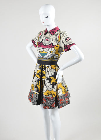 Multicolor Valentino Mixed Floral Print Short Sleeve Flared Dress Sideview