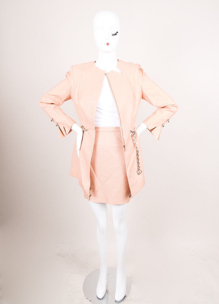 Vintage Dusty Pink Thierry Mugler Chain Embellished Skirt Suit