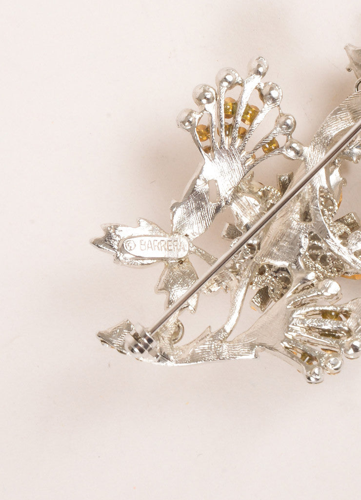 Barrera Silver Toned Rhinestone Embellished Floral Brooch Pin Detail 2