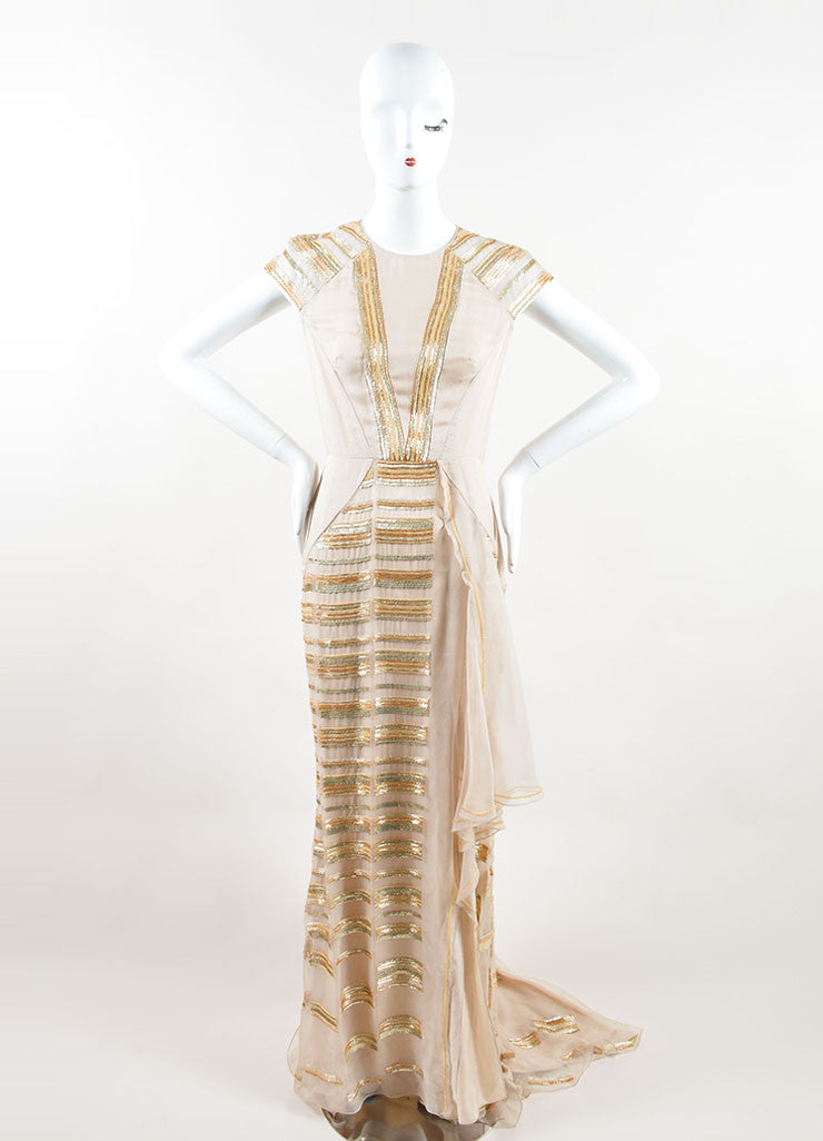 Bibhu Mohapatra Beige Silk and Gold Sequin Beaded Cap Sleeve Gown Frontview