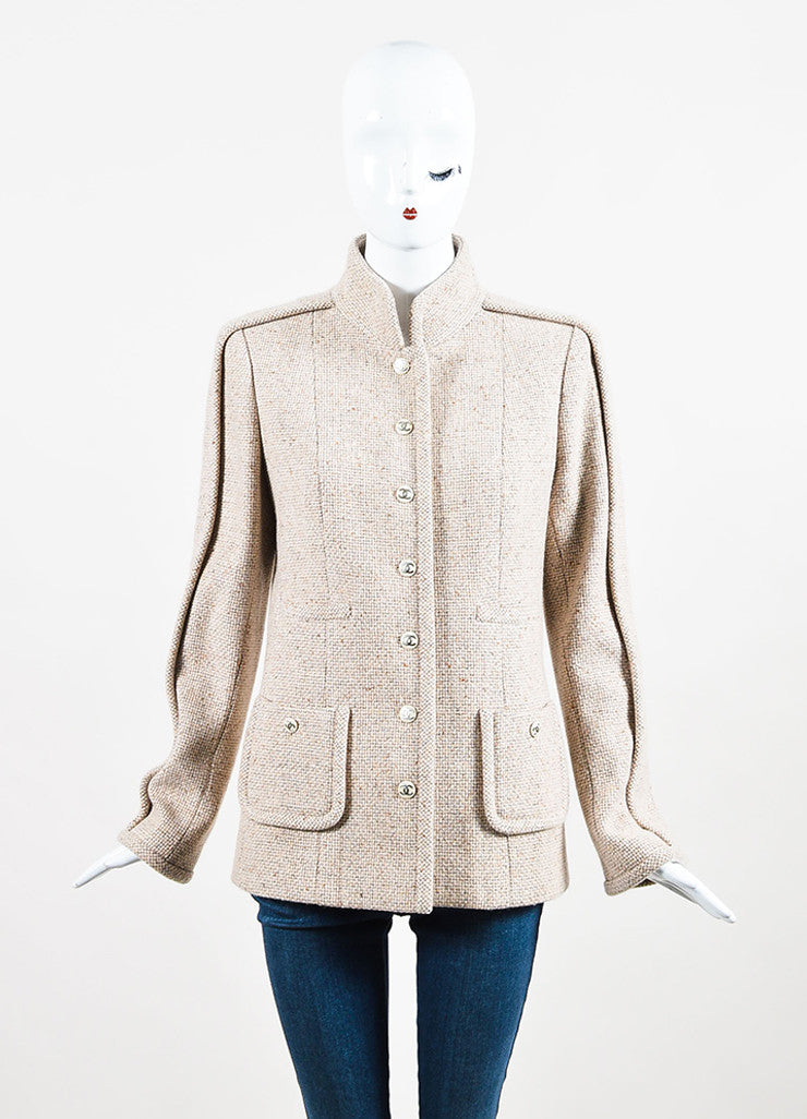 Chanel Beige and Grey Cashmere Tweed 'CC' Enamel Button Piping Jacket Frontview 2