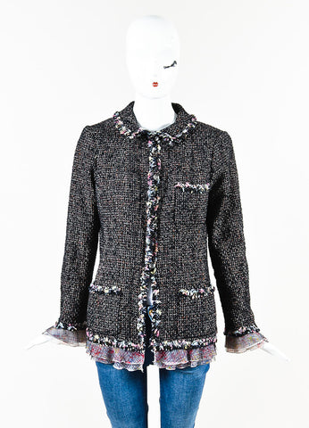 Chanel 2004 Limited Edition NY Timeless Black Multicolor Tweed Jacket Front