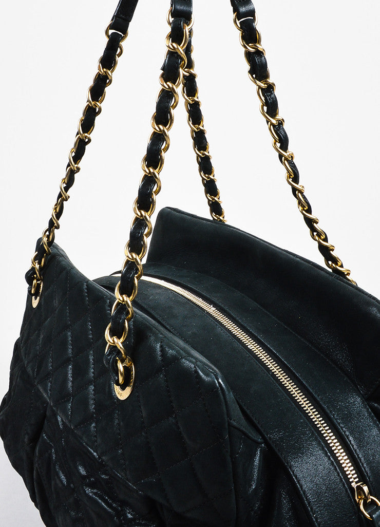 "Chanel Black and Gold Toned Iridescent Leather Chain ""Large Chic Quilt Bowling"" Bag Detail 2"