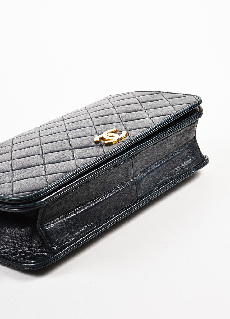 "äó¢íšíóChanel Black Leather Quilted Single Flap Chain Strap ""CC"" Shoulder Bag Bottom View"