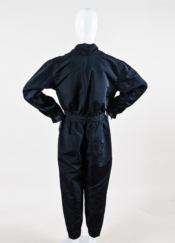 Black Chanel Silk Coverall Long Sleeve Jumpsuit Backview