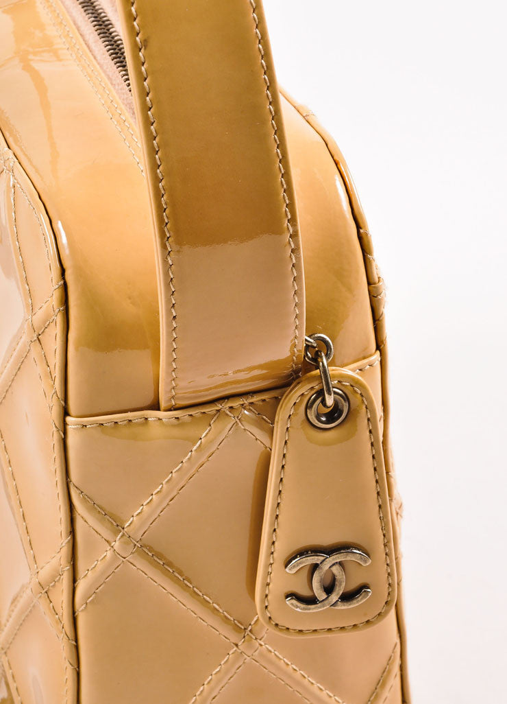 Chanel Tan Quilted Patent Leather Shoulder Bag Detail 2